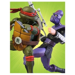 Les Tortues ninja pack 2 figurines Raphael vs Foot Soldier 18 cm