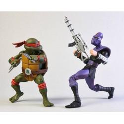 Les Tortues ninja pack 2 figurines Raphael vs Foot Soldier 18 cm