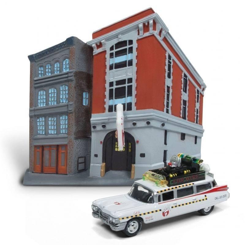 SOS Fantômes 1/64 1959 Cadillac Ecto-1 métal & Firehouse Diorama Set