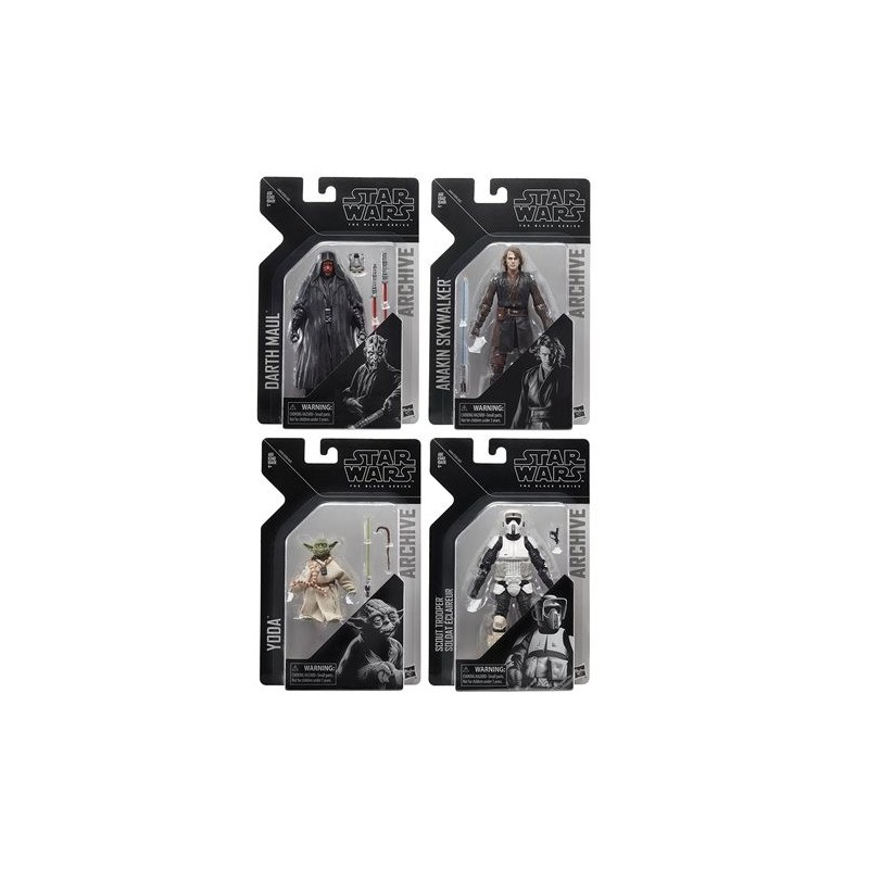 Star Wars Bklack Series Archive Wave 2 Darth Maul, Anakin , Yoda & Biker scoot
