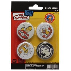 Les Simpson Set de 4 Badges Hommer