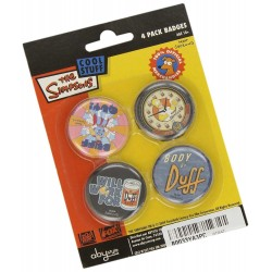 Les Simpson Set de 4 Badges Duff