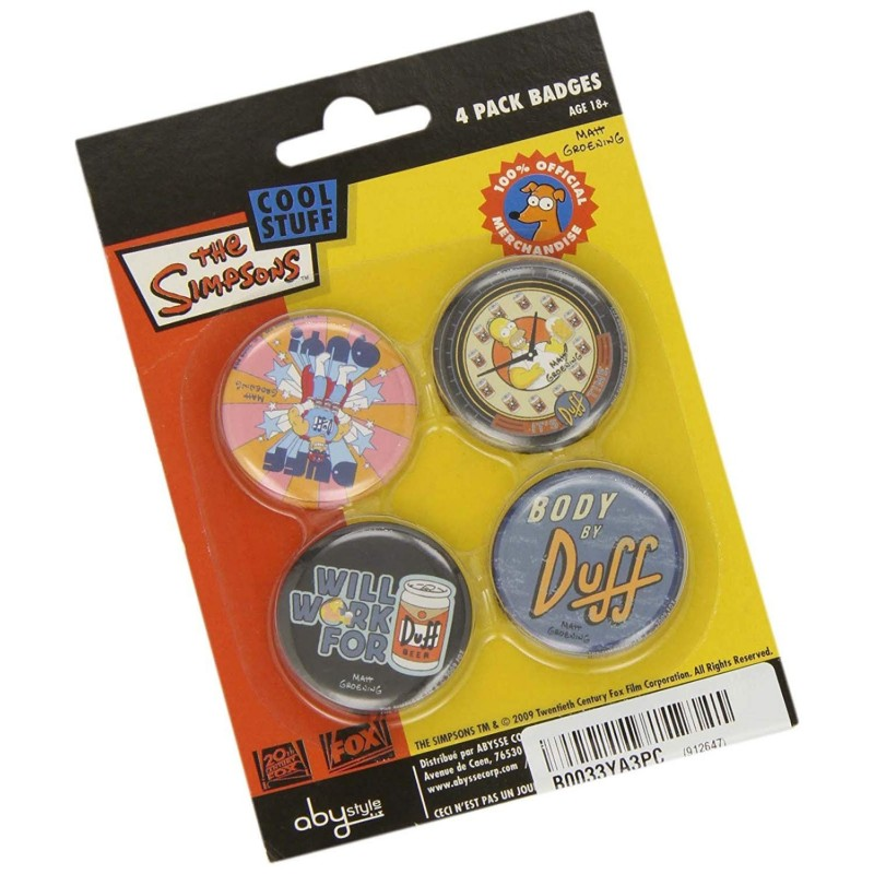 Les Simpson Set de 4 Badges Duff