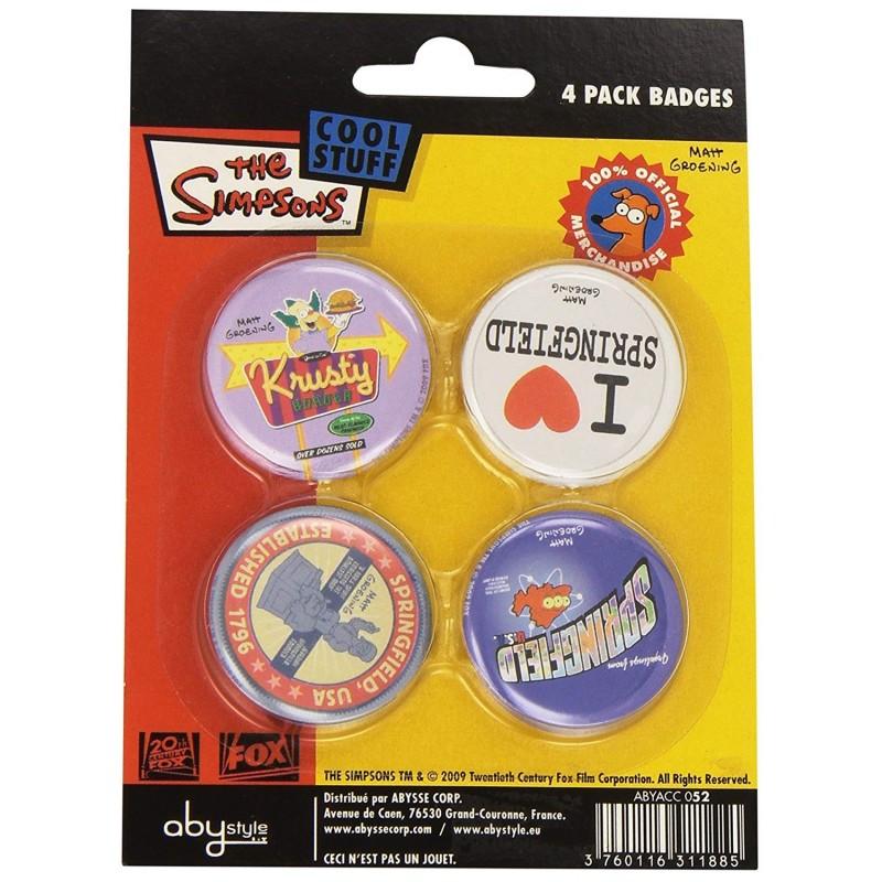 Les Simpson Set de 4 Badges I Love Springfield