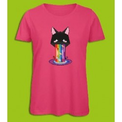 Sickawai T-shirt Femme Chat Rose Sickawai Le Coin Des Goodies