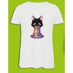 Sickawai T-shirt Femme Chat Blanc Sickawai Le Coin Des Goodies