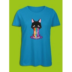 Sickawai T-shirt Femme Chat Bleu Sickawai Le Coin Des Goodies
