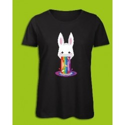 Sickawai T-shirt Femme Lapin Noir Sickawai Le Coin Des Goodies