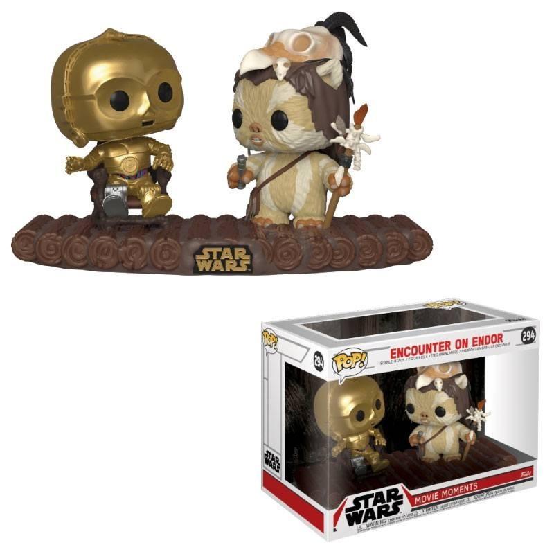 Star Wars pack 2 POP! Movie Moments Vinyl Bobble Head C-3PO on Throne 9 cm