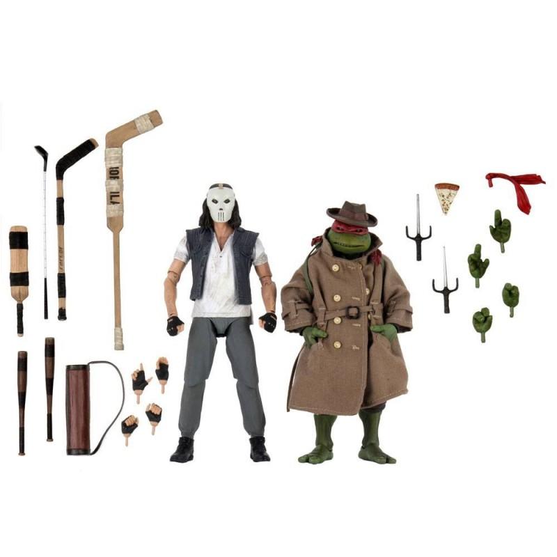 Les Tortues ninja pack 2 figurines Casey Jones & Raphael in Disguise 18 cm