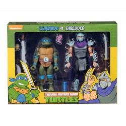 Les Tortues ninja pack 2 figurines Leonardo vs Shredder 18 cm