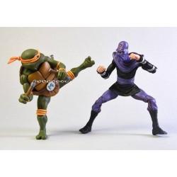 Les Tortues ninja pack 2 figurines Michelangelo vs Foot Soldier 18 cm